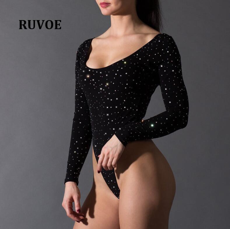 New Backless Sparkly Bodysuit Black Sexy Slim Women Club Spring Backless Bodysuits Long Sleeve Skinny Hot Party Bodysuit YFL 084
