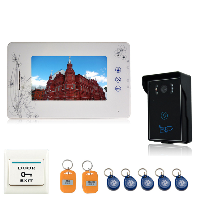 Luxury 7`` Color Video door phone Intercom recording Doorbell System Kit IR Camera Tamper alarm & waterproof