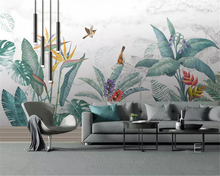 beibehang Custom classic papel de parede wallpaper Nordic hand-painted fresh tropical plants flowers and birds background murals