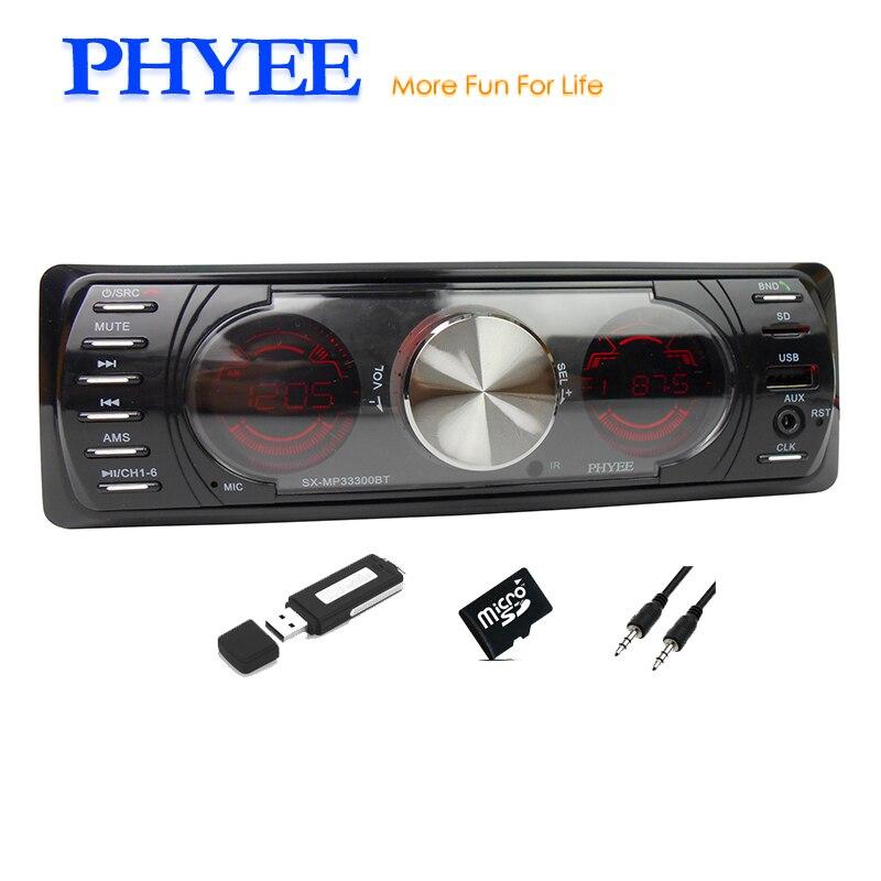 1 Din Car Radio Bluetooth Autoradio Dual Screens Stereo Audio MP3 ID3 WMA USB TF A2DP Handsfree ISO Headunit PHYEE SX-MP33300BT