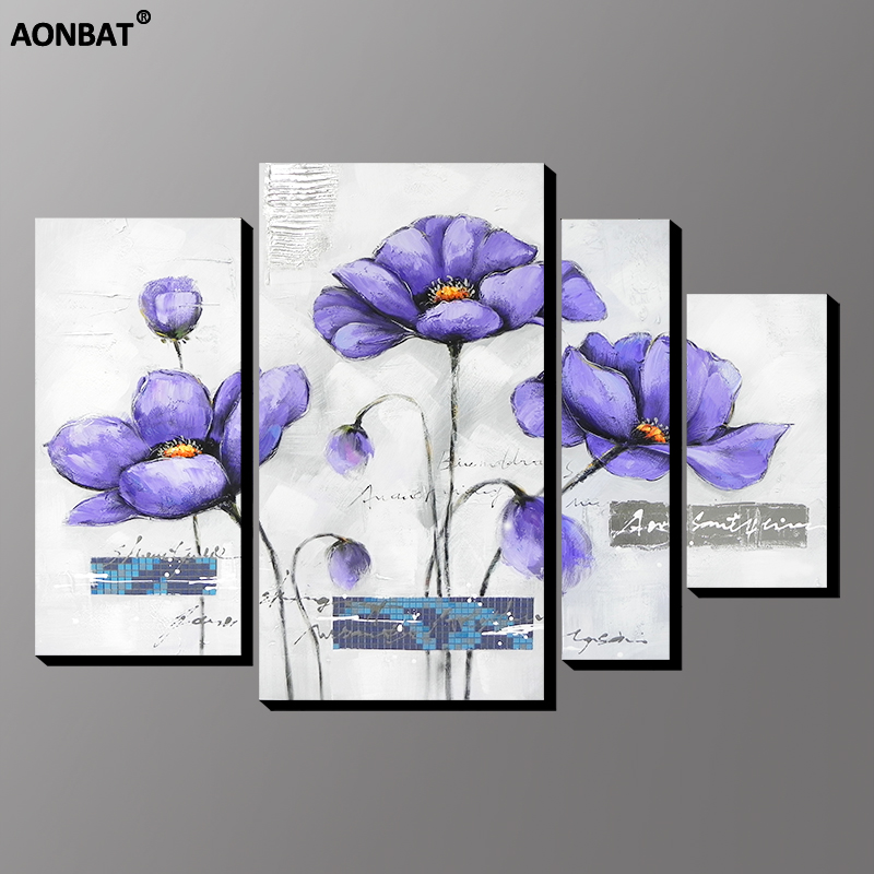 Purple Flower Oil Painting Abstract Wall Art Picture: 4pcs Set AONBAT ART Modern Hand Painted Purple Flower