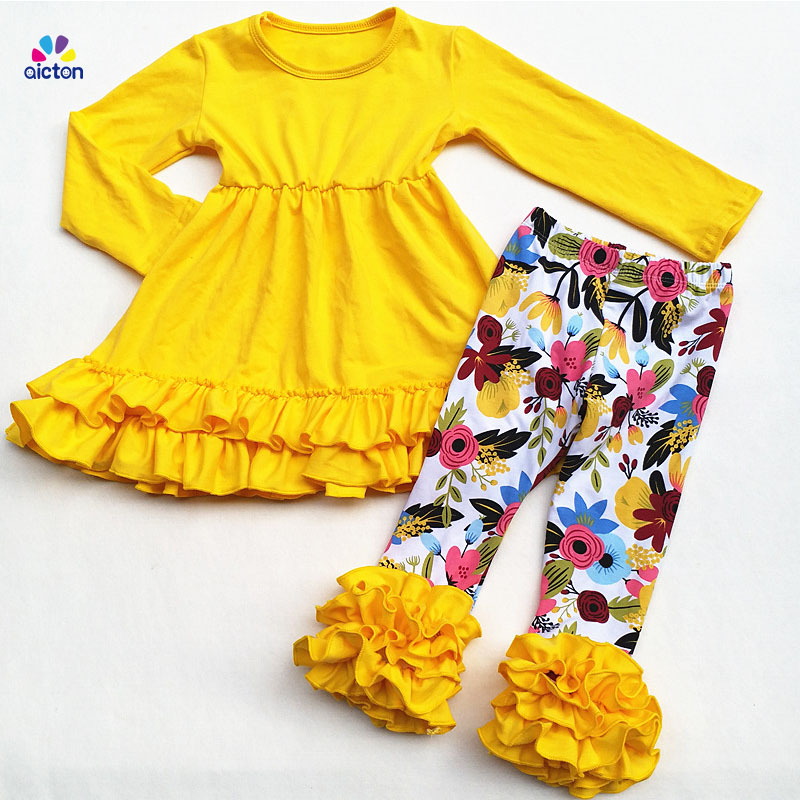 Фото AICTON Wholesale Remake Children Clothing Sets Ruffle Pants Outfits Girls Boutique Clothing Set Yellow Solid Top Flower Pants