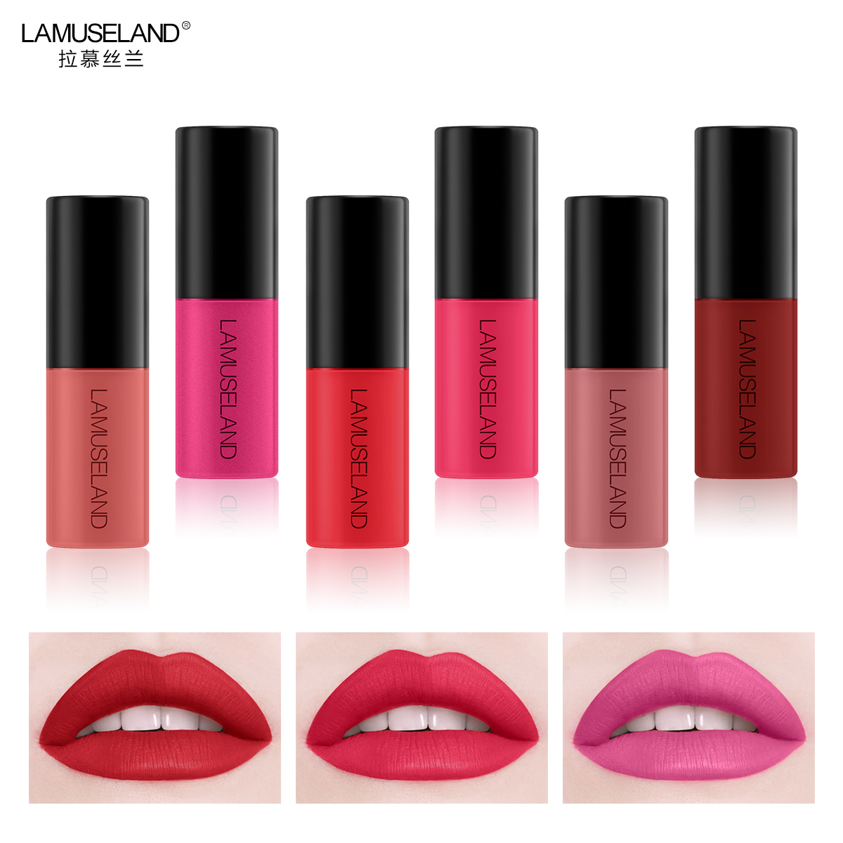 3Pcs Lot Waterproof Long Lasting Matte Mini Lipstick 12 Colors Lip Gloss 3 5g Lips Makeup Brand LAMUSELAND L18L13 in Lipstick from Beauty Health