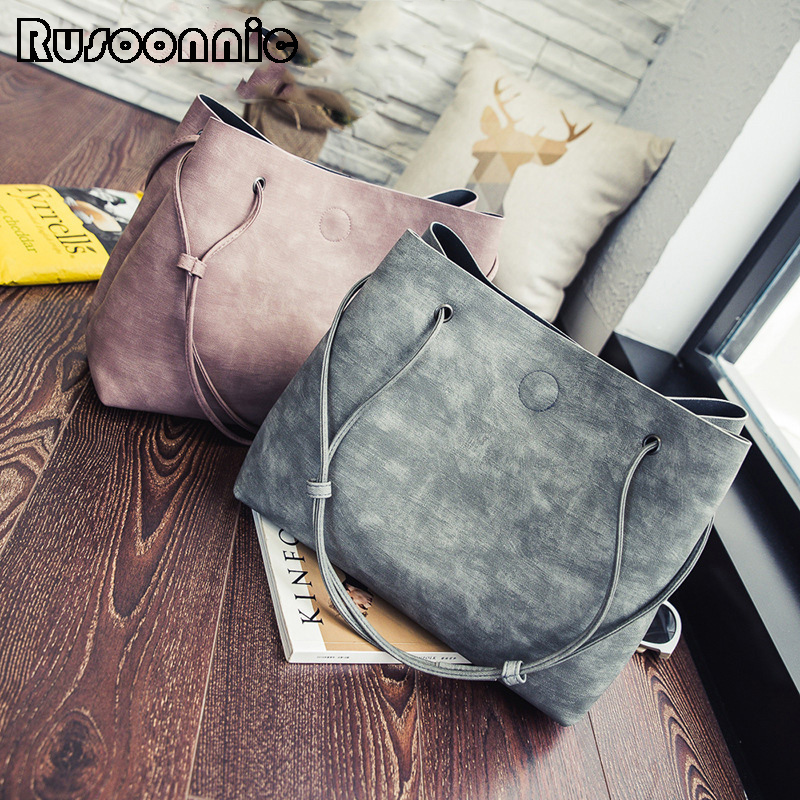 Rusoonnic Women Shoulder Bag Composite Messenger Bags purses and Handbag Set Mochila Leather Handbags sac a main Feminina Bolsas 2pc purses and handbags leather women messenger bags female composite bag luxury crossbody bags for women tote bag sac a main