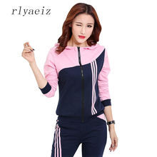 RLYAEIZ Hot New Casual 2 Piece Set Women 2017 Spring Fashion Patch Hooded Hoodies + Pants Autumn Tracksuits Woman Sporting Suits