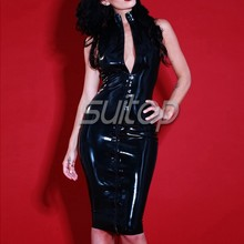 Latex Rubber Laced Flash-Back Dress sexy(China)