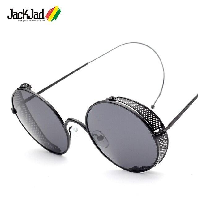 e7d4b6dcd29 JackJad 2018 Fashion Side Mesh Cover STEAMPUNK Round Sunglasses Men Women  Vintage Retro Brand Design Sun Glasses Oculos De Sol