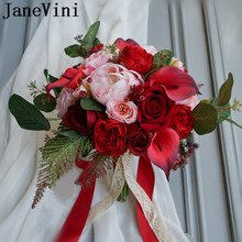 JaneVini Red Brides Bouquet Wedding Flowers Calla Lilies Artificial Faux Roses Pink Peony Bridesmaids Bridal Lace Handle
