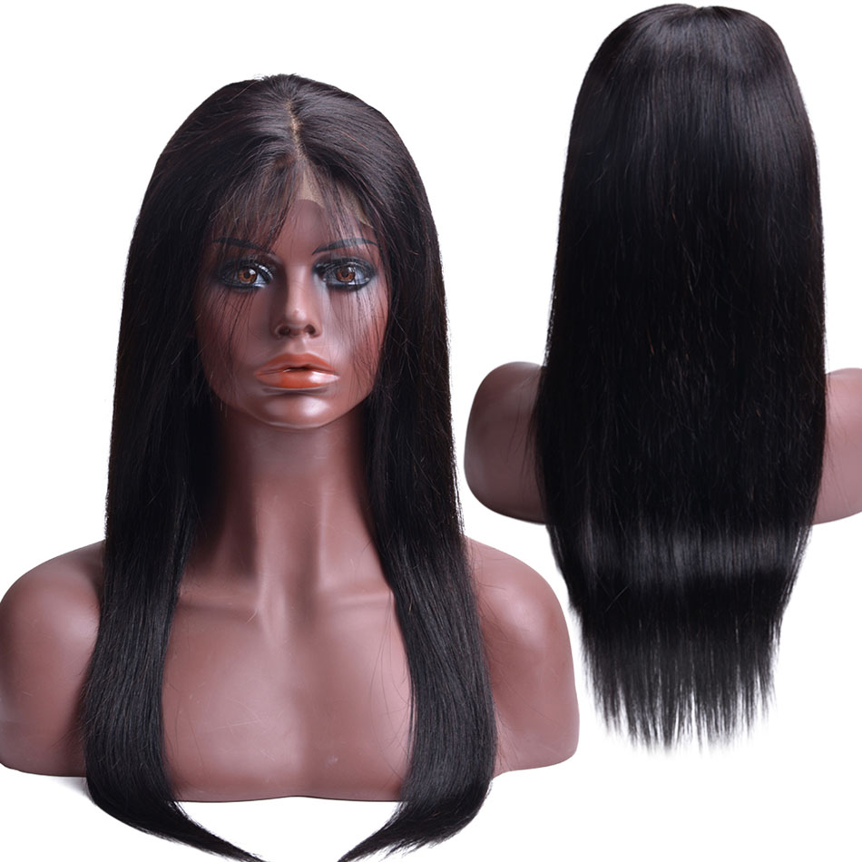 Lace Closure Human Hair Wigs For Black Women Pre Plucked Brazilian Straight Lace Wig With Baby