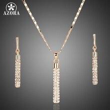 Azora, золотые прозрачные Австрийские кристаллы свисающие серьги и кулон Цепочки и ожерелья Ювелирные наборы TG0007