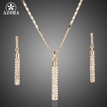 AZORA Gold Color Clear Austria Crystals Drop Earrings and Pendant Necklace Jewelry Sets TG0007(China)