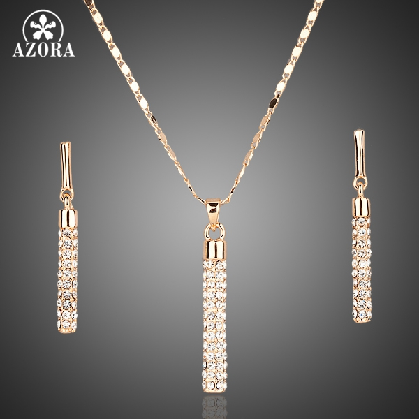 AZORA Warna Emas Batal Austria Kristal Drop Earrings dan Pendant Kalung Jewelry Set TG0007