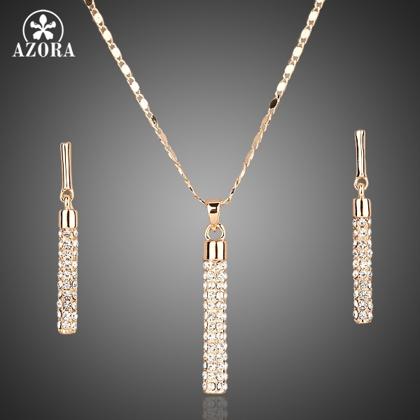 AZORA Gold Color Clear Austria Crystals Drop Earrings and Pendant Necklace Jewel