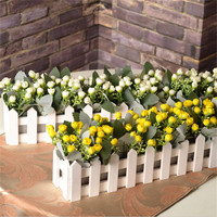 You And Me 50cm Artificial Flowers Potted Plant Fake Orchid Set In Picket Fence For Home