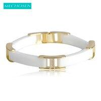 MECHOSEN Jewelry White Black Ceramic Bracelets CZ Zircon Porcelain Bileklik 18K Gold Plated Copper Pulseira Men
