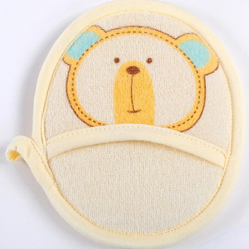 100% Cotton Bear Cartoon Baby Infant Shower Bath Rub Cleaning Brush Random Colors