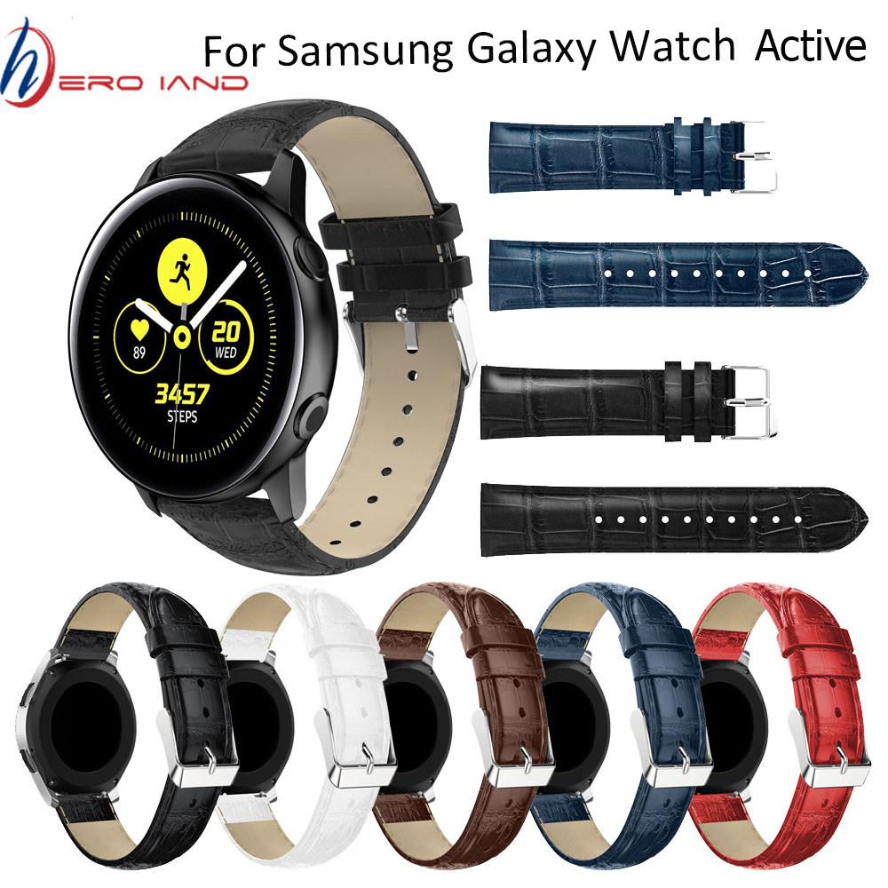 20mm Crocodile Leather Strap For Samsung Gear S2 for Samsung galaxy watch active <font><b>2</b></font> Wirst Band for Xiaomi Huami <font><b>Amazfit</b></font> Bip <font><b>BIT</b></font> image