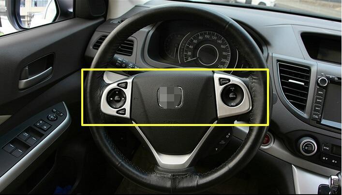 For Honda CRV CR-V 2012 2013 2014 2015 High-equipped models 2pcs chrome steering wheel cover trim 2pcs fit for 2012 2013 2014 2015 2016 honda crv cr v rear bumper protector cargo step panel cover sill plate trunk trim garnish