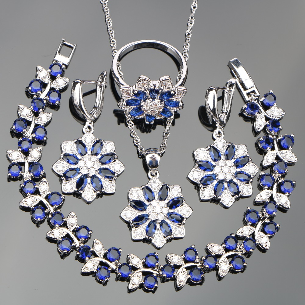 все цены на Blue Zircon Silver 925 Wedding Jewelry Sets Costume Women Bracelets Pendants Necklaces Rings Earrings With Stones Set Gift Box