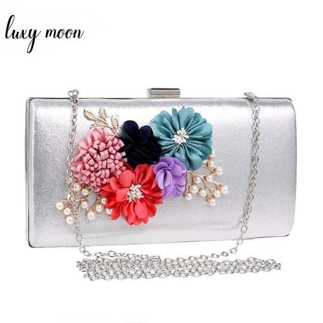 2018 Flower Bride Bag Handmade Gold Silver Day Clutch Wedding Evening Bags Women Purse Clutches Chain