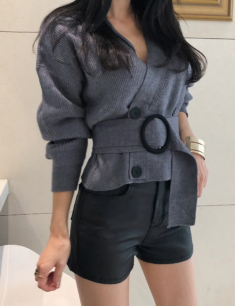 Sexy V-neck Full Sleeve Knitted Double Breasted Sweater Cardigan