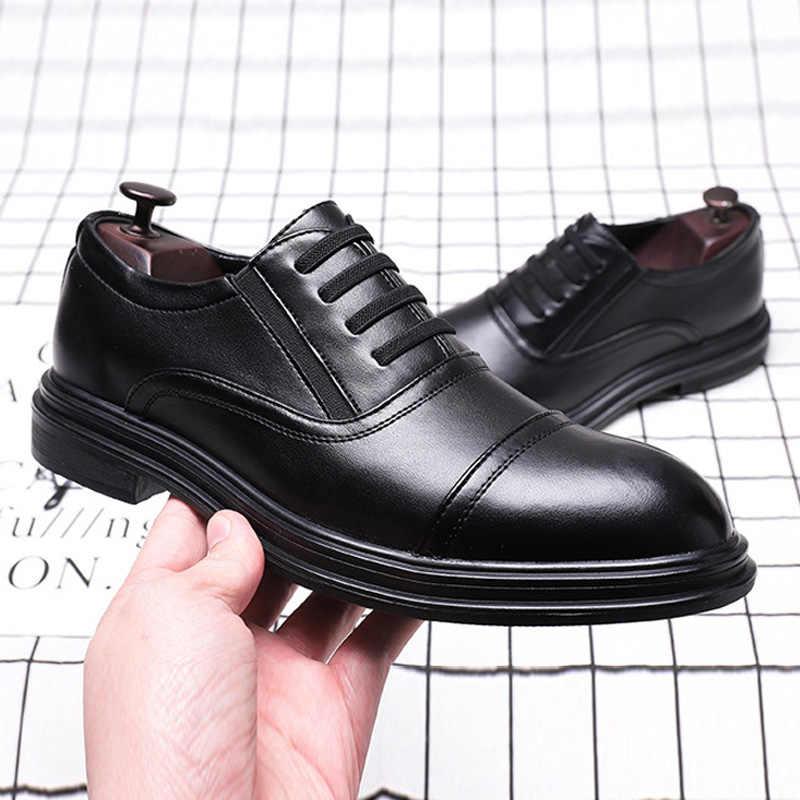 Siyah erkek resmi ayakkabı Deri Erkek rahat ayakkabılar 2019 Moda Brogues erkek ayakkabısı Yüksek Kaliteli KA990