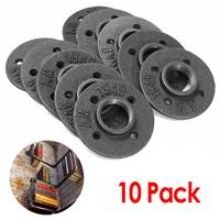 10Pcs 1/2 Inch Iron Pipe Fittings Wall Mount Floor Flange DIY Malleable Threaded Floor Flange Hardware Black Cast Iron Flange