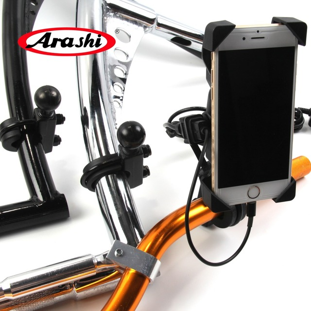 ARASHI For Motorcycle Universal Flexible Mobile Phone Holder With Silicone Support With Charger Handle Bar Mount Bracket