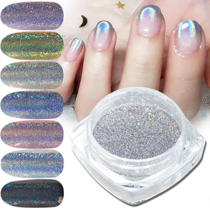 Image 2 - 1g/bottle Holographic Glitter Nail Art Pigment Powder Shining Laser Dipping Spangles Chrome Mirror Nail Polish Dust BE1028 1