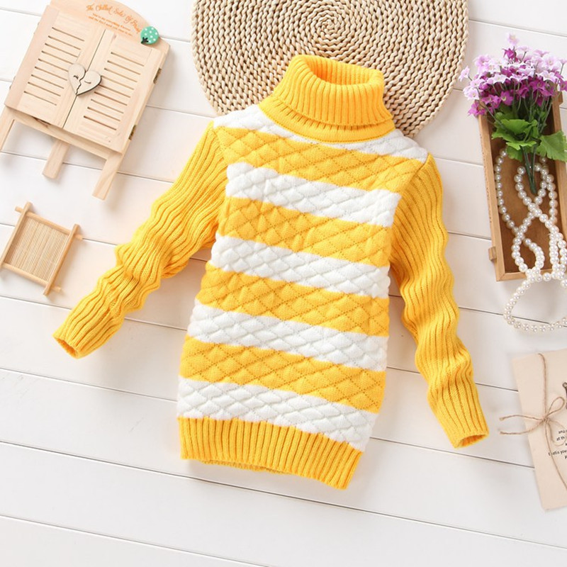 2017 Striped Baby Girls Sweater jumper Autumn Winter Kids Knitted Pullovers Turtleneck Warm Outerwear Boys Sweater DS29 drop shoulder knot hem striped jumper