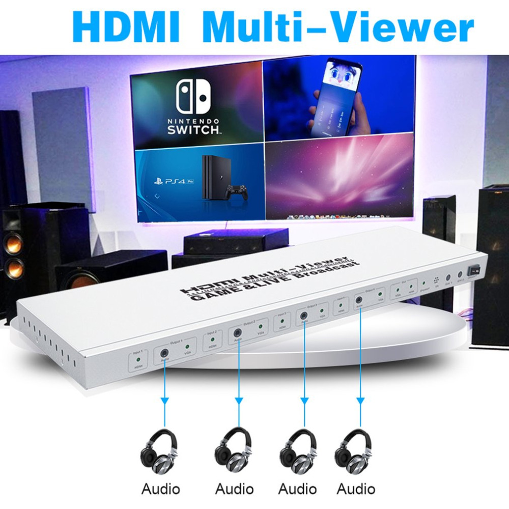 HDMI Multi-Viewer Game & Live Broadcast 1080P HD Supports 4 images With Sound HDMI Splitter Seamless Switcher 4x1 hdmi multi viewer switcher hdmi quad screen real time multiviewer with hdmi fast switching function full 1080p 5 modes