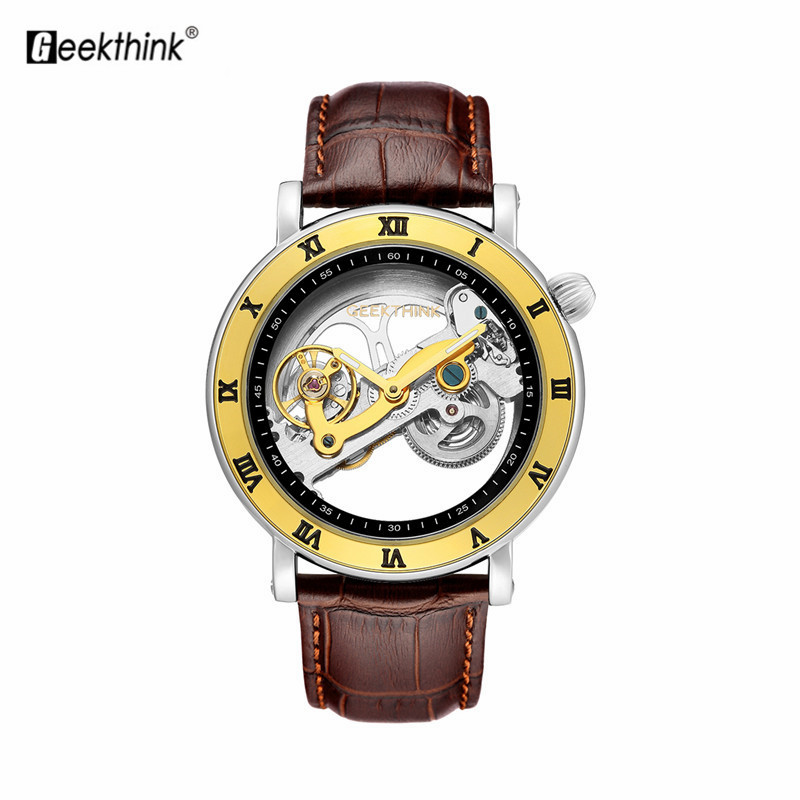 Fashion Hollow Automatic Mechanical Watch Men Leather Strip Dial Wristwatch Leather Cuff Watches Waterproof Luxury Analog WatchFashion Hollow Automatic Mechanical Watch Men Leather Strip Dial Wristwatch Leather Cuff Watches Waterproof Luxury Analog Watch