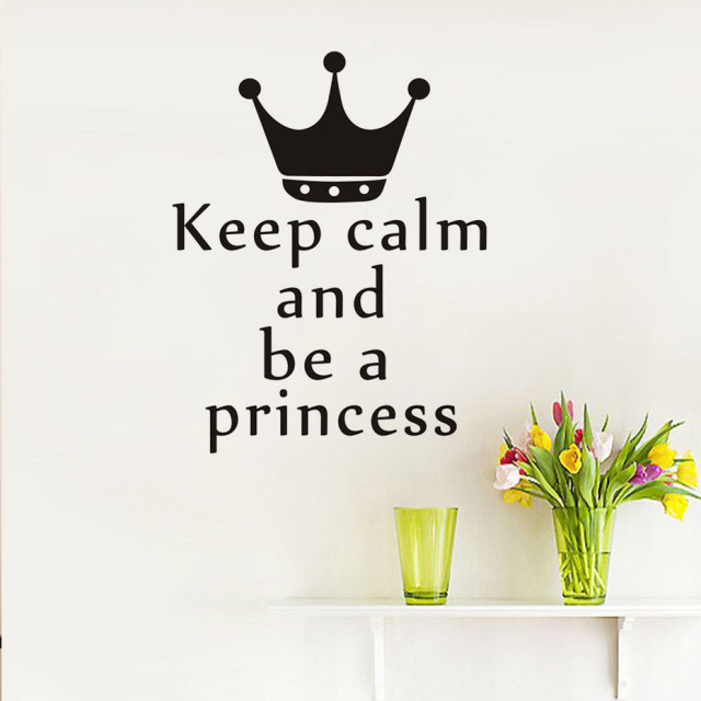 Keep Calm And Be A Princess Wall Sticker Vinyl Crown Quotes Adhesive Wallpaper For Girls Room