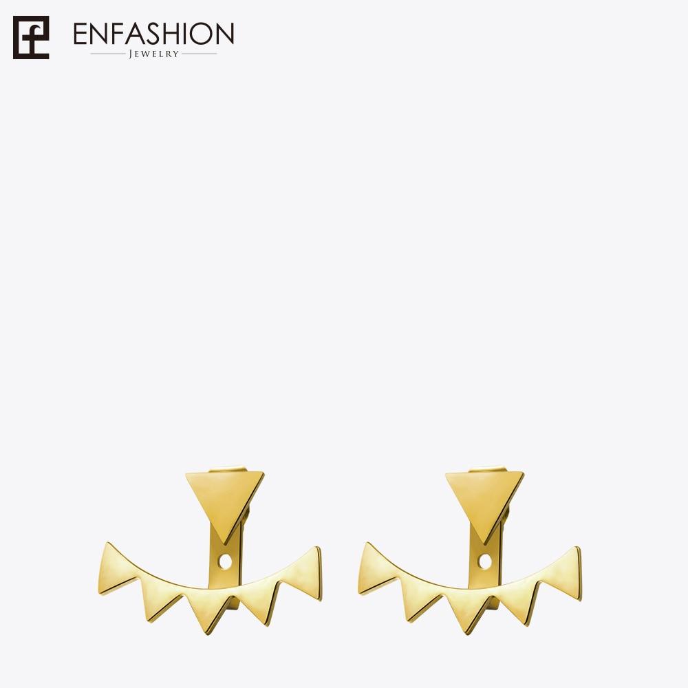 Enfashion Wholesale Geometric Triangle Ear Jacket Earrings Stud Earring Gold Color Earings Stainless Steel Earrings For Women punk style earring stainless steel screw ear stud