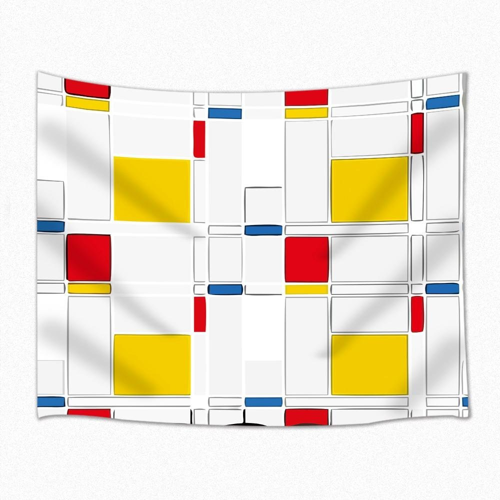 Mondrian Style Tapestry Yellow Blur Red Lattice Wall Hanging for ...