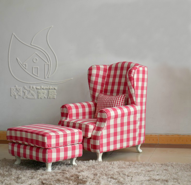 Single Garden tigers American country plaid high back chair ...