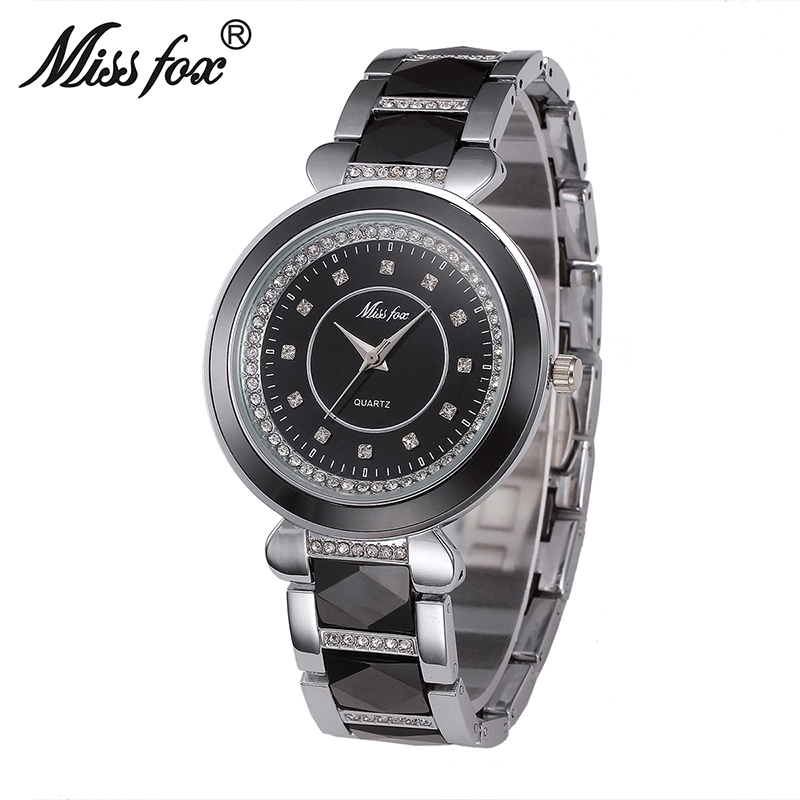 Miss Fox Fashion Luxury Ceramic Watch Women Diamond Ladies Wristwatch Female Waterproof Watches Quartz Casual Clock Feminino New все цены