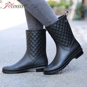 Image 1 - Women boots brand design Boots Rain Boot Shoes Woman Solid Rubber Waterproof Flats Fashion Shoes