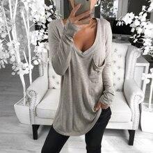 Пикантный низкий разрез, v-образный вырез, женские топы, сексуальная короткая футболка, женские топы с длинными рукавами, однотонные топы с карманом, Mujer SJ1678U
