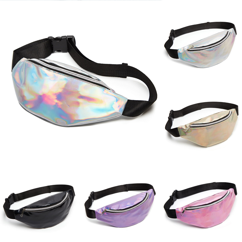 5 Color Sequin Women Waist Bag Fanny Pack Running Zip Belt Clutch Purse Money Pouch Holiday Bag Black Gold Pink Purple Silver