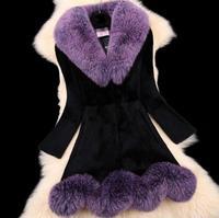Зимняя женская обувь пальто 111% натуральный Лисий мех норки пальто мех кролика воротник пальто с мехом кролика дизайнер куртка специальная