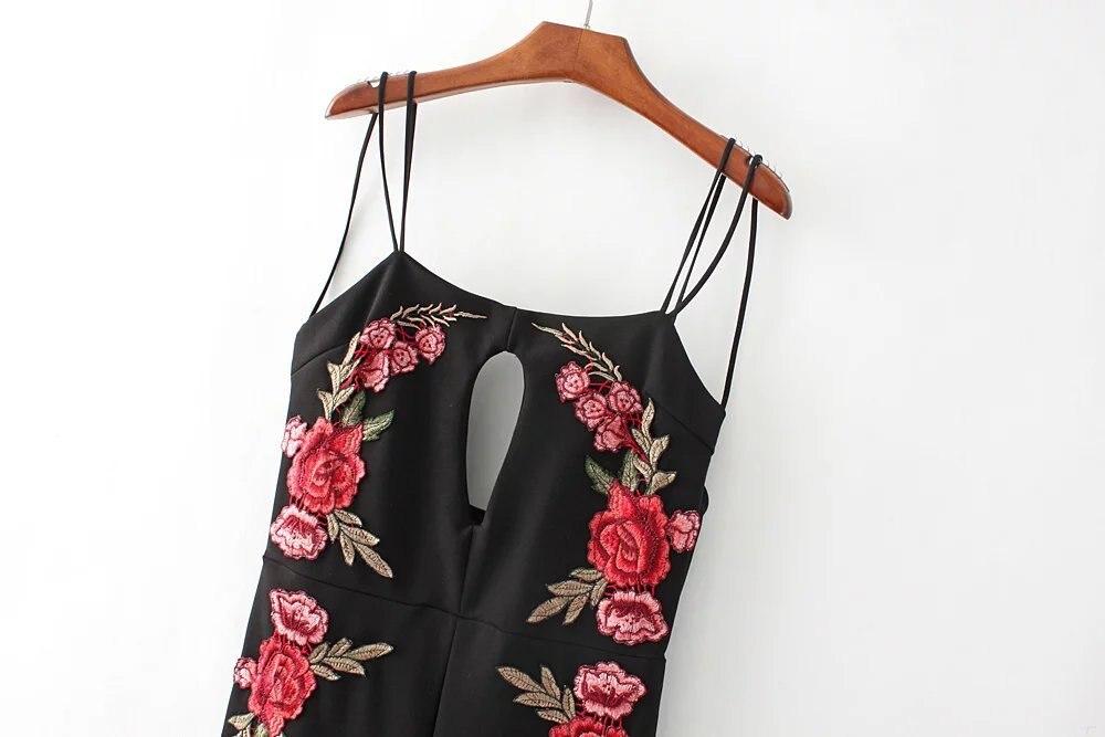 Новые летние европейские наклейки сиамские Брюки для девочек черный Комбинезоны для женщин модные цветочные Вышивка теленок-длина Брюки д...