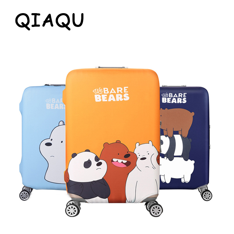 QIAQU Fesyen Cartoon Bear Corak Perjalanan kalis air 18 '' - 32 '' Cover Luggage Portable Elastic Stretch Cover Protector