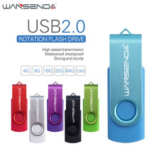 WANSENDA USB Flash Drive 128gb 64gb 32gb 16gb 8gb 4gb Pen Drive Rotation usb stick 6 colors external storage pendrive u disk