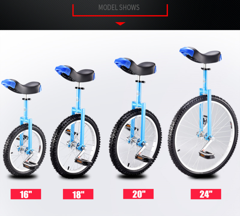 """HTB1DmlSV4naK1RjSZFtq6zC2VXay Brand New 16"""" 18"""" 20"""" 24"""" Unicycle Cycling Scooter Circus Bike Youth Adult Balance Exercise Single wheel Bicycle Aluminum Wheel"""