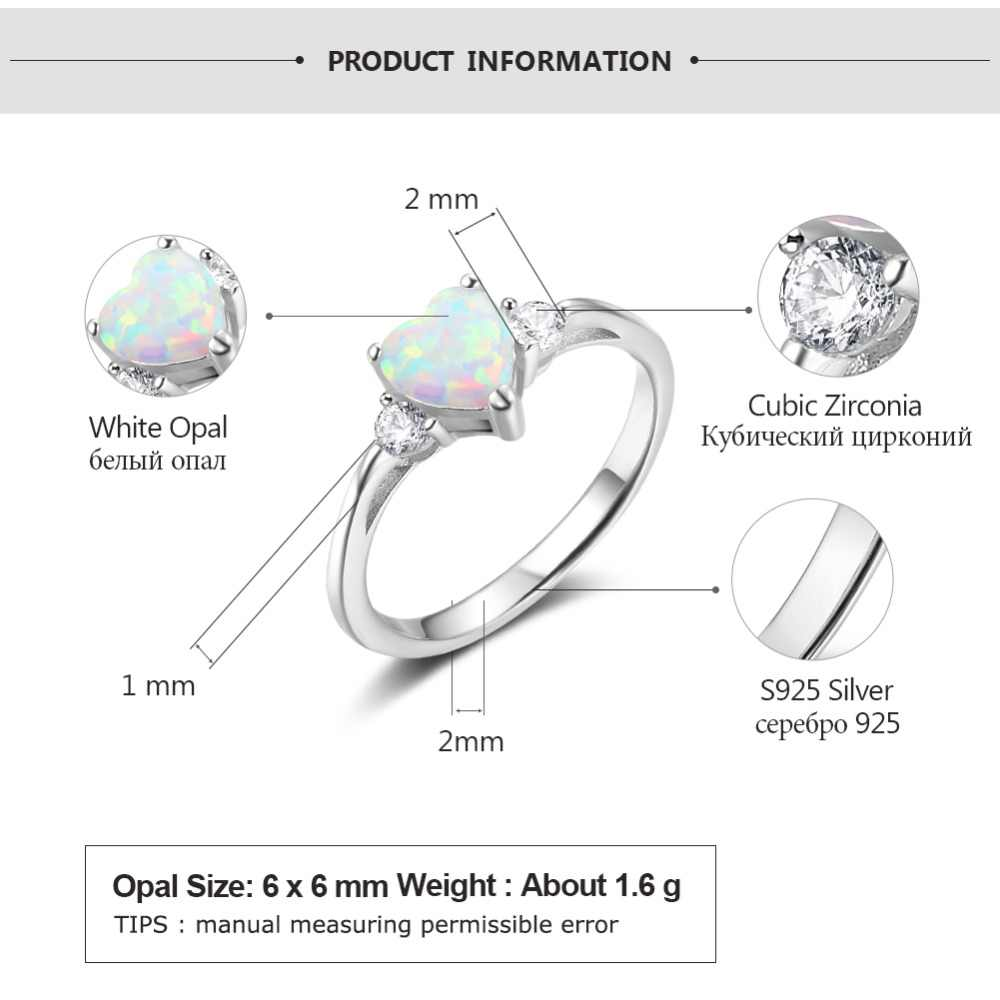 792b22b55196f2 ... Classic Eternal Heart 925 Sterling Silver Rings for Women Blue Pink  White Opal Ring Female Engagement ...
