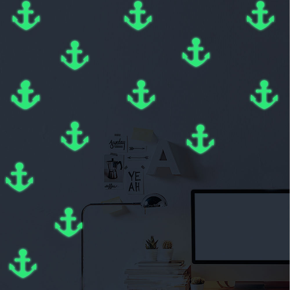 Free Shipping Noctilucous Wall Stickers Nordic Style Glowing Anchors For Livingroom Kid`s Room Dining Hall And Bathroom Decor