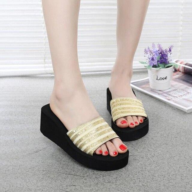 Chic Women Stylish Platform Slipper Wedge Heel Flip Flops Summer Leisure Shoes