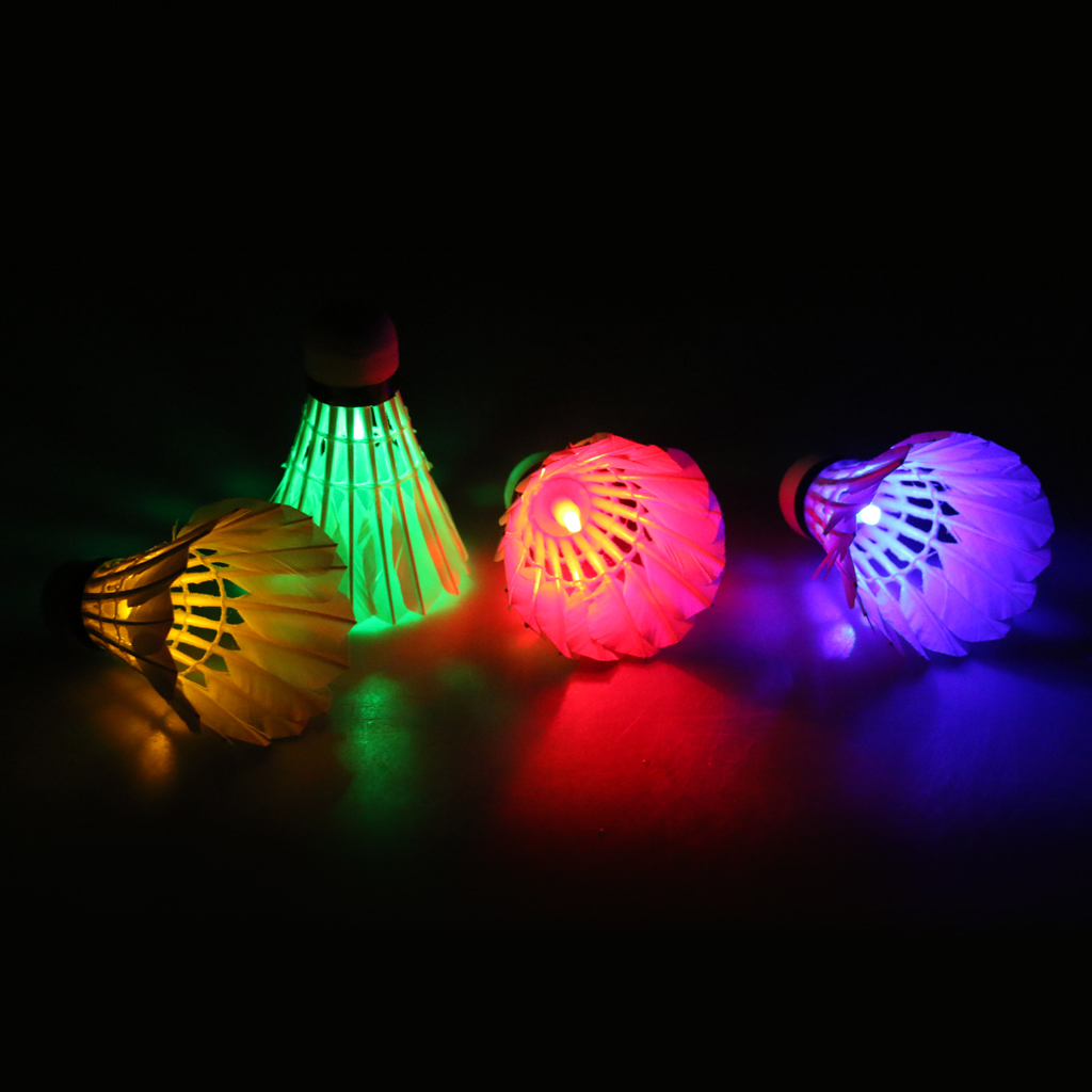 4 Pieces Mix Color Bright LED Light Badminton Set Shuttlecock Birdies