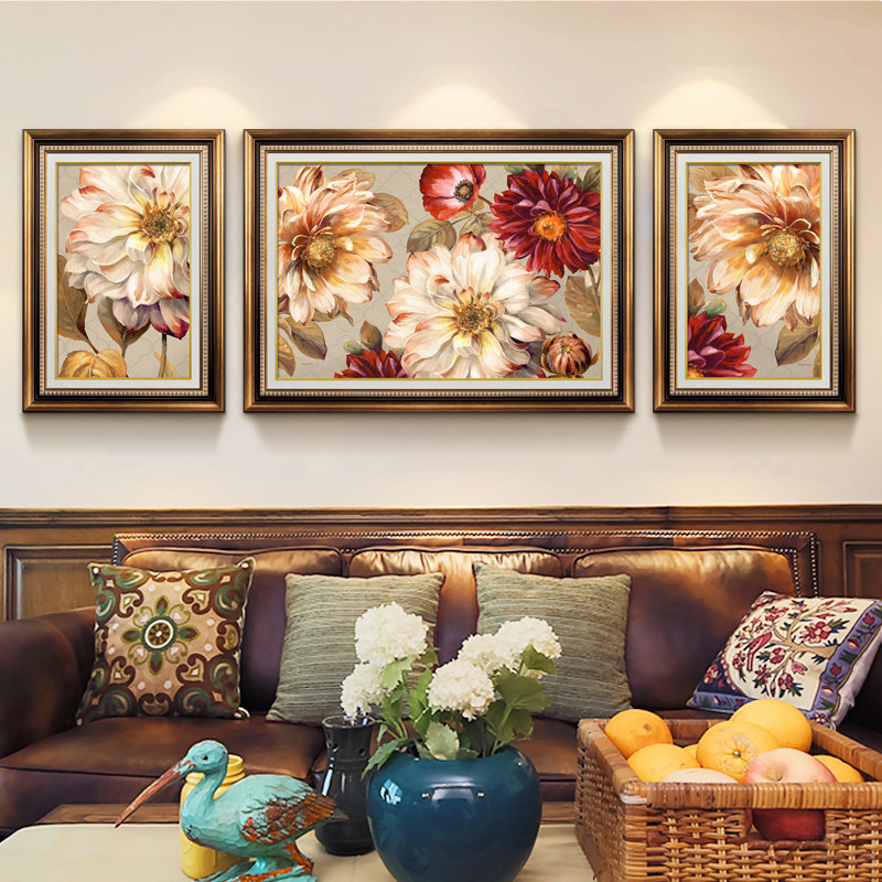 EECAMAIL European style Living Room Flowers Triptych Diamond Painting Cross Stitch Blossoming Flowers 5D Full Diamond